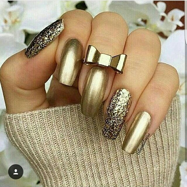 Маникюр 2018 модные тенденции фото золотом
