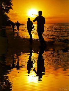 silhoutte reflection mirror sun sunset