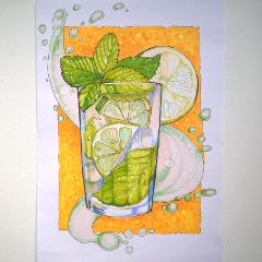 drawing sketch summer mojito drinks