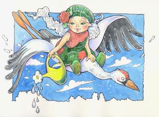 drawing sketch watercolors ink spring
