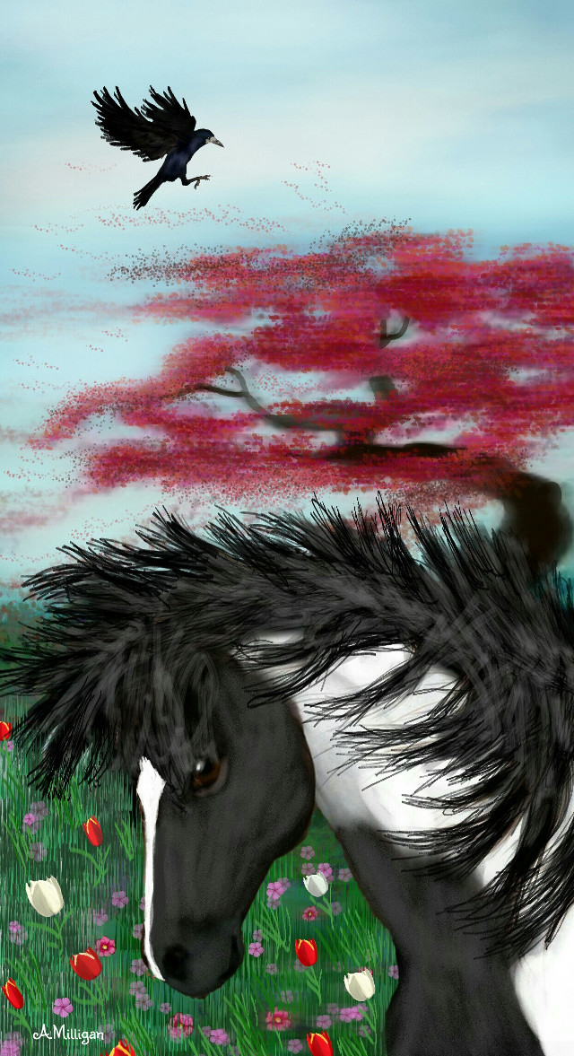 #wdpwindy My first entry for wdpwindy😊  #colorful #colorsplash #cute #flower #love #nature #petsandanimals  #windy #tree  #draw 😊❤💚🐎🐴