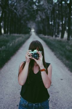 freetoedit girl camera portrait road