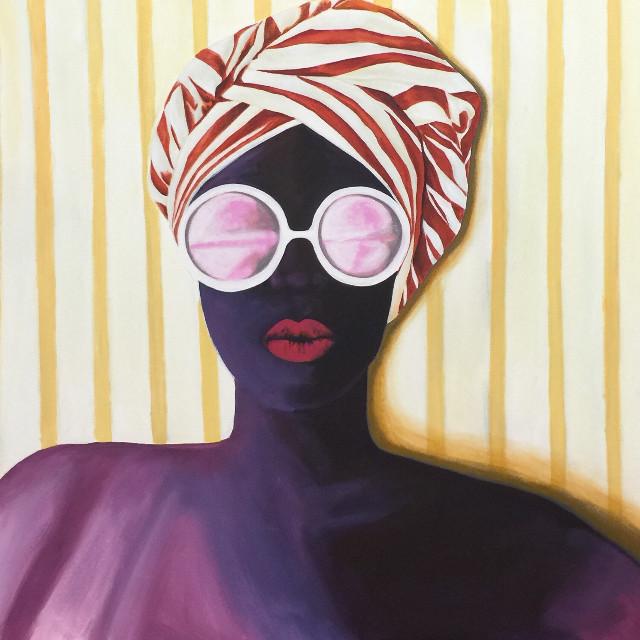 'Beach Beauty' Acrylic on Canvas 90cm X 90cm  #art #profile  #acryliconcanvas  #painting #portrait #fashionillustration #fashionart #hair #hairillustration