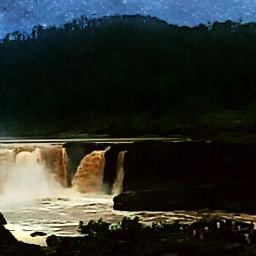 waterfall rain monsoon nature people