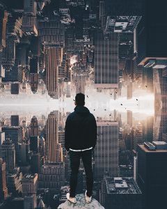 surreal surrealism city cityscape people