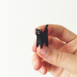 art tinyart cat blackcat sculpture