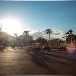 motorcycle scooters vietnam street sunset freetoedit
